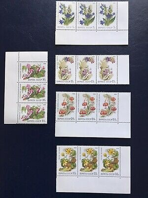 Russia 1988 Deciduous Forest Flowers Five Blocks Of Three Stamps MNH • 2£