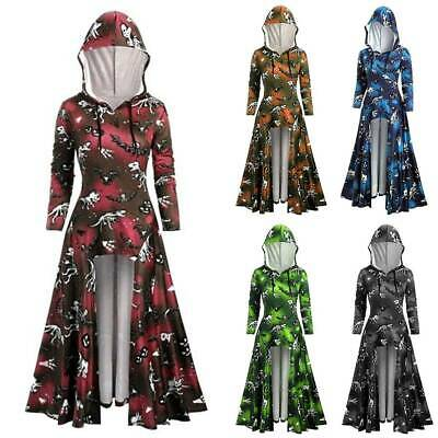 Women Halloween Fancy Dress Hooded Tunic High Low Hem Gothic Steampunk Maxi Tops • 10.44£