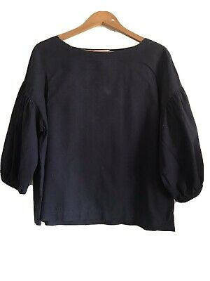 AU10 • Buy Uniqlo Navy Cotton Blouse With Puff Sleeve