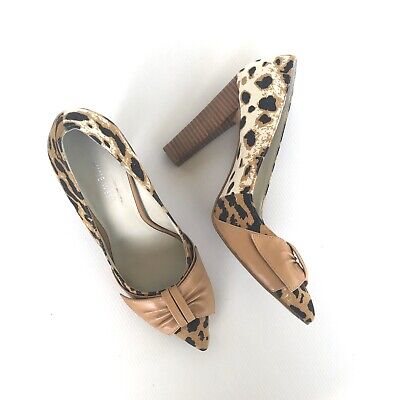 AU30 • Buy NINE WEST Leopard Print Bow Pointed Toe Leather Block Heel Pump Sz 7.5