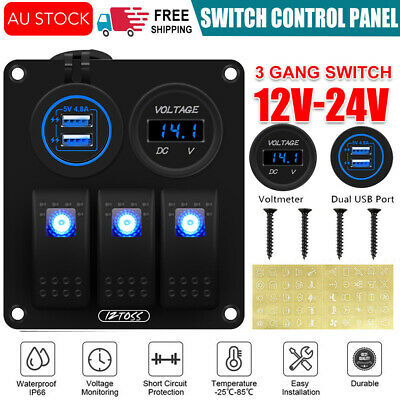 AU35.77 • Buy 3 Gang Switch Panel 2 USB Charger ON-OFF Toggle LED Car Vehicles Trailer Yacht