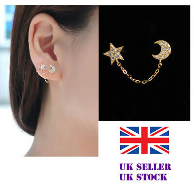 £3.39 • Buy Sterling Silver Double Lobe Piercing Earring Chain Studs For Two Holes Moon Star
