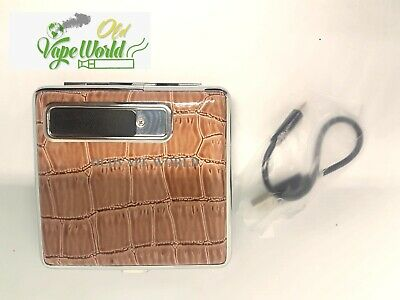 Cigarette Leather Case With USB Rechargeable Lighter Electronic Best Quality A+ • 8.99£