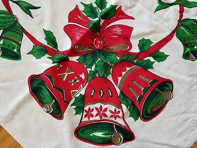$ CDN20 • Buy Vintage Mid-Century Cotton Tablecloth Christmas Bells Holly Ribbons 58x73