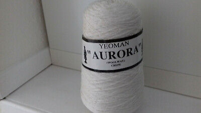 400g Cone Cream Yeoman Yarns Aurora Woolway Crepe 3/4ply Knitting Yarn • 5.50£