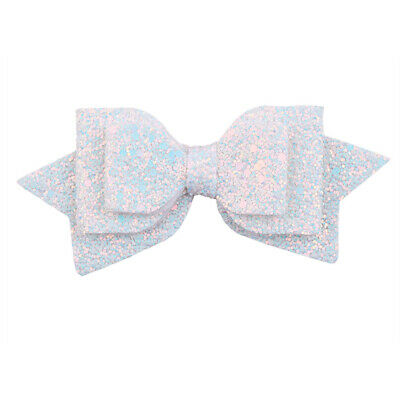 $0.30 • Buy Baby Girl Glitter Hair Bow White Hairpins Hair Clip For Kids Hair Accessories