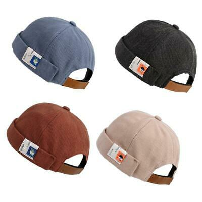 Retro Solid Color Beanie Docker Cap Rolled Cuff Brimless Label Hip Hop Skull Hat • 4.87£