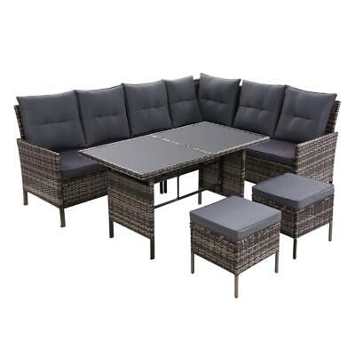 AU833.95 • Buy Outdoor Sofa Set Patio Furniture Lounge Setting Dining Chair Table Wicker Grey