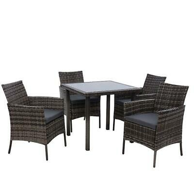 AU504.95 • Buy Outdoor Dining Set Patio Furniture Wicker Chairs Table Mixed Grey 5PCS