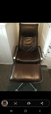 Leather Reclining Swivel Arm Chair With Matching Foot Stool Immediate Condition  • 48£