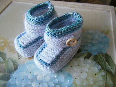 Knitted Baby Bootees Boots Booties Shoes 3 - 6 Months Grey • 4.50£