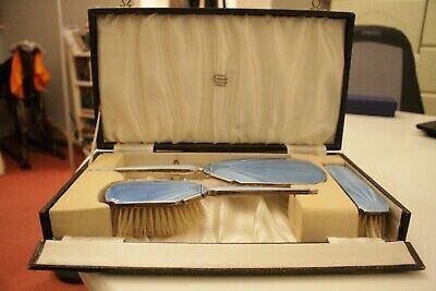 Deco 1930's Hallmarked Silver And Blue Guilloche  Dressing Table Set Boxed • 268£