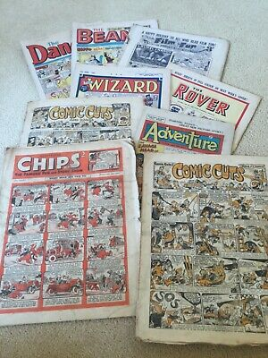 Vintage Comic 1940s Books Comic Cuts, Adventure, Wizard, Rover, Film Fun, Chips • 12.50£