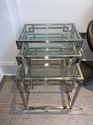 Glass And Chrome Nest Of Tables • 36.88£