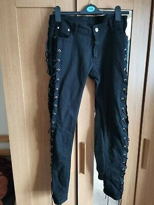 Black Corset Goth ,Punk ,Rockabilly,Lace Up ,Skinny Trousers,Jeans From BANNED • 7£