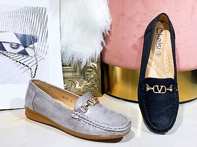 New Women Lady Flat Office Metallic Cushion Comfy Designer Style Loafers Shoes • 14.99£