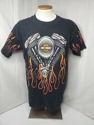 $ CDN133.34 • Buy Harley Davidson 1996 Vintage All Over Flames T Shirt Black Fire V 2 Twin Mens L