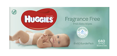AU39.94 • Buy 640x Wipes Thick Huggies Baby Wipe Alcohol And Fragrance Free | 8x 80 Packs Bulk