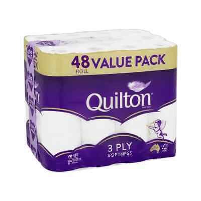 AU49.84 • Buy 48 X QUILTON TOILET PAPER TISSUE ROLLS SOFTNESS SANITARY 3 PLY 180 Sheets