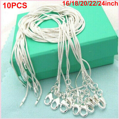 £5.99 • Buy 10Pcs16in-24in Wholesale 925 Sterling Silver Plated Snake Chain Necklace Pendant