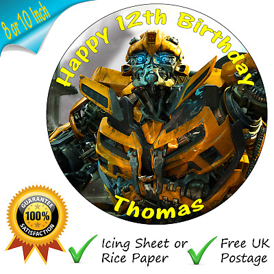 Transformers Bumblebee Cake Topper Personalised Edible Birthday Cake Topper • 3.95£