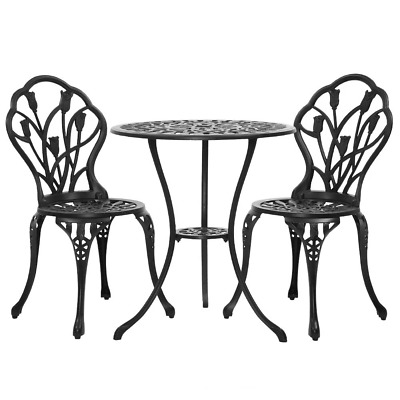 AU189.95 • Buy Gardeon 3PC Outdoor Setting Cast Aluminium Bistro Table Chair Patio Black