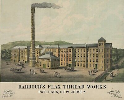 Barbour's Flax Thread Works Paterson New Jersey Advertising Lithograph 13x19  • 11.25£