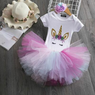 AU27.95 • Buy Bubblegum Unicorn Baby Girl 1st Birthday Party Outfit Dress Tutu One Cake Smash