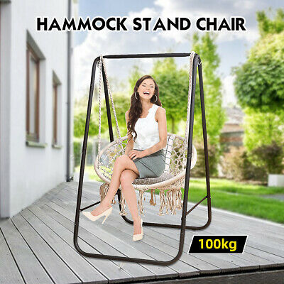 Hanging Hammock Indoor Outdoor Swing Cotton Rope Chair Patio Iron Black Stand UK • 44.99£