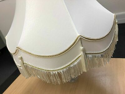 £18.89 • Buy 10  12  Cream / Gold  Traditional Double Scallop Tassel Table / Floor Lamp Shade