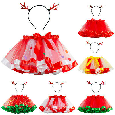 Kids Girls Tutu Christmas Party Dance Ballet Toddler Costume Skirt+Deer Hairband • 7.99£