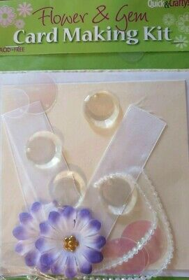 Quick & Crafty Flower & Gem Card Making Kit New • 1.75£