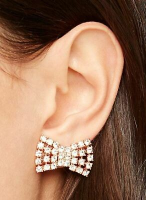 $ CDN48.13 • Buy NEW Kate Spade Sparkling Bow Studs Rose Gold W/ Glass Stones Earrings $68