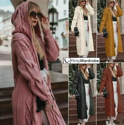 Womens Long Knitted Cardigan Open Front Chunky Hooded Sweater Coat Winter UK • 19.99£