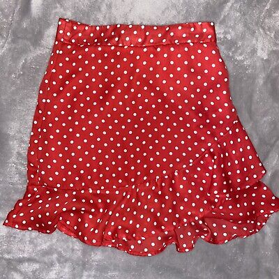 Ladies Teen Polka Dot Red Short Flared Skirt With Frill Size 6 Primark • 6£