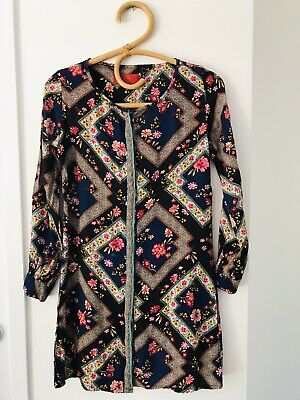 AU28 • Buy TIGERLILY Size 6 Navy Floral Long Sleeve Button Down Round Neck Shirt Dress