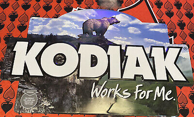"$ CDN49.44 • Buy KODIAK ""WORKS FOR ME"" CHEW Grizzly Bear Smokeless Chewing Tobacco Metal Tin Sign"