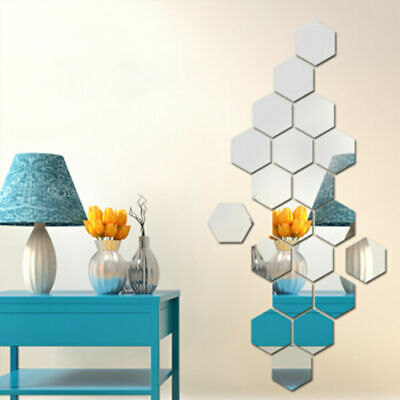 12 Pcs Acrylic Mirror Effect Tile Wall Sticker Room Decor Stick On Art Bathroom • 2.51£