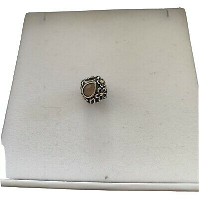 AU32 • Buy Rare Retired Pandora Dew Drops Silver Charm With Moonstone And 14k Gold