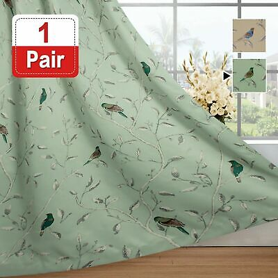 AU24.99 • Buy Blockout Curtains Living Room Birds Printed Vintage Curtain Draperies Thick Soft