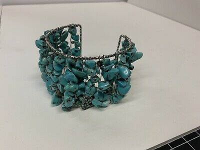 $ CDN125.60 • Buy Vintage Turquoise Cuff Bracelet Jewelry Native American Style Lots Of Stones