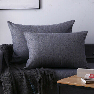 AU19.08 • Buy 2X Plain Linen Cushion Cover Pillow Cases Large Rectangle Sofa Car Bed Decor