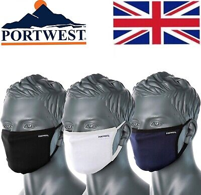 Portwest CV33 Reusable Washable 3 Ply Fabric Face Mask Anti Microbial Adjustable • 4.19£