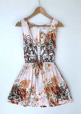 AU40 • Buy ALICE MCCALL Orange Floral Print Embroidered Dress Size 8