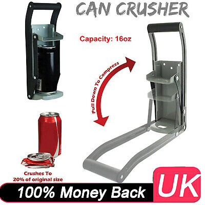 16oz Heavy Duty Beer Tin Can Crusher Wall Mounted Recycling Tool & Bottle Opener • 10.70£