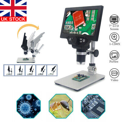 7inch LCD Electronic Digital Monitor 1200X HD Video Microscope 8 LED Magnifier • 57.69£