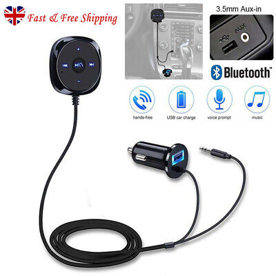 Bluetooth Car Kit USB Charger & AUX 3.5mm Adapter Music Transmitter MP3 Player • 11.39£