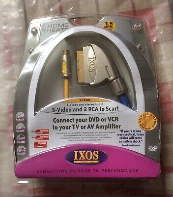NEW Ixos S-Video And 2 RCA To Scart 1.5m XHT501 Connect DVD VCR To TV AMPLIFIER • 1.99£