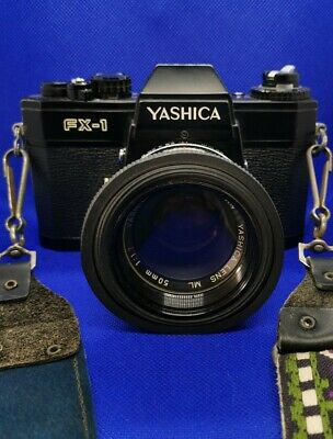 Yashica FX-1 Electro & Yashica ML 50mm F/1.7 Lens, Strap, Caps & Hood. Working • 49.99£