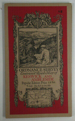 1925 Old OS Ordnance Survey One-Inch Popular Edition Map 12 Keswick & Ambleside • 10.25£